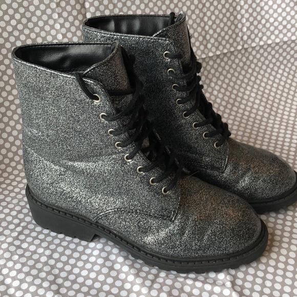 Xhilaration Other - Xhilaration Silver Glitter Boots size 13 1/2